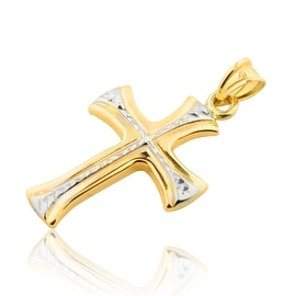 10K Gold Cross Pendant With White Gold Tone 32mm Tall