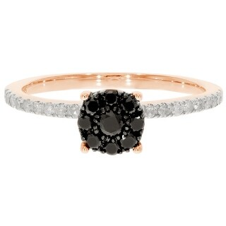 Prism Jewel 0 43Ct Round Black Diamond With Natural Diamond Engagement Ring