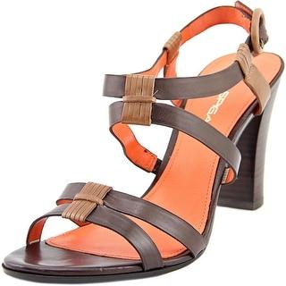 Via Spiga Ruslana Women Open-Toe Leather Brown Slingback Sandal