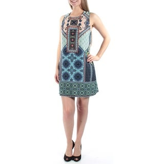 Womens Blue Printed Sleeveless Above The Knee Shift Dress Size: 13