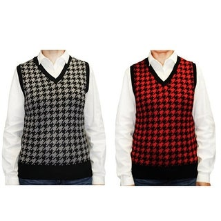 Blue Ocean Women's Houndstooth Sweater Vest