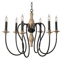 "Kenroy Home 93846 Lisbeth 6-Light 24-1/4"" Wide Taper Candle Chandelier - weathered white/gold highlights and orb arms"