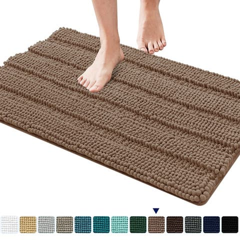 Subrtex Supersoft and Absorbent Braided Bathroom Rugs Chenille Bath Rugs