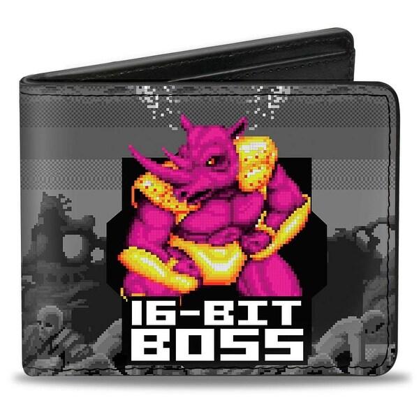 Sega Genesis Boss Rhino Neff 16 Bit Boss + Golden Wolf Rhino Battle Grays Bi-Fold Wallet - One Size Fits most
