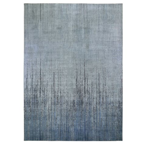 """Shahbanu Rugs Gray Ombre Design Pure Silk Hand Knotted Oriental Rug (9'0"""" x 12'1"""") - 9'0"""" x 12'1"""""""