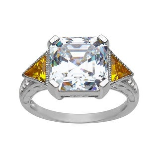 Ring 5 1/2 ct White and Yellow Cubic Zirconia in Sterling Silver