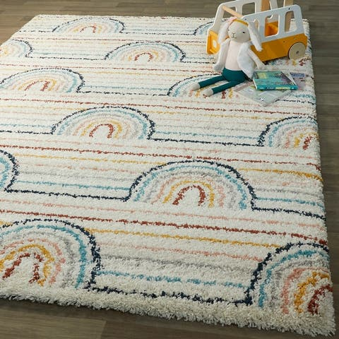 Hailey Kids Rainbow Print Moroccan Shag Boys & Girls Berber Area Rug