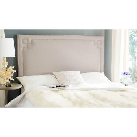 Safavieh Remington Taupe Linen Upholstered Greek Key Headboard (Queen)