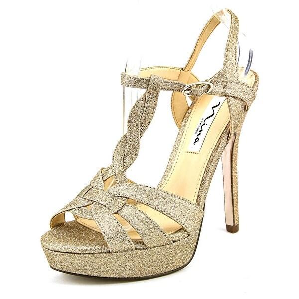 Nina Marzia Women Open Toe Canvas Gold Platform Sandal