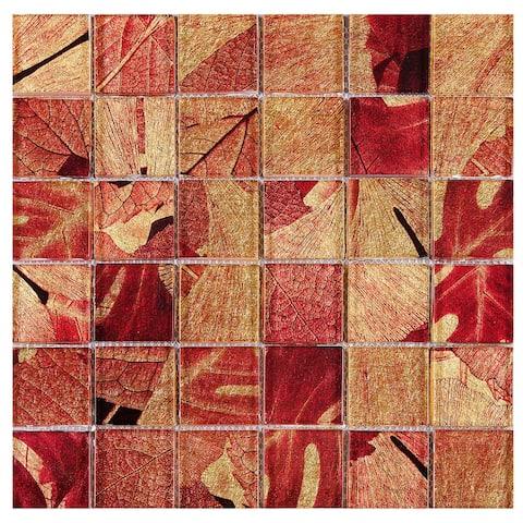"TileGen. Season Series Summer 2"" x 2"" Glass Mosaic Tile in Red Wall Tile (10 sheets/9.6sqft.)"