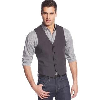 Alfani Slim Fit Vest Dark Grey XX-Large Cotton Button Front Solid