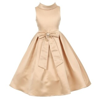 Little Girls Champagne Bridal Dull Satin Rhinestone Flower Christmas Dress 2-6