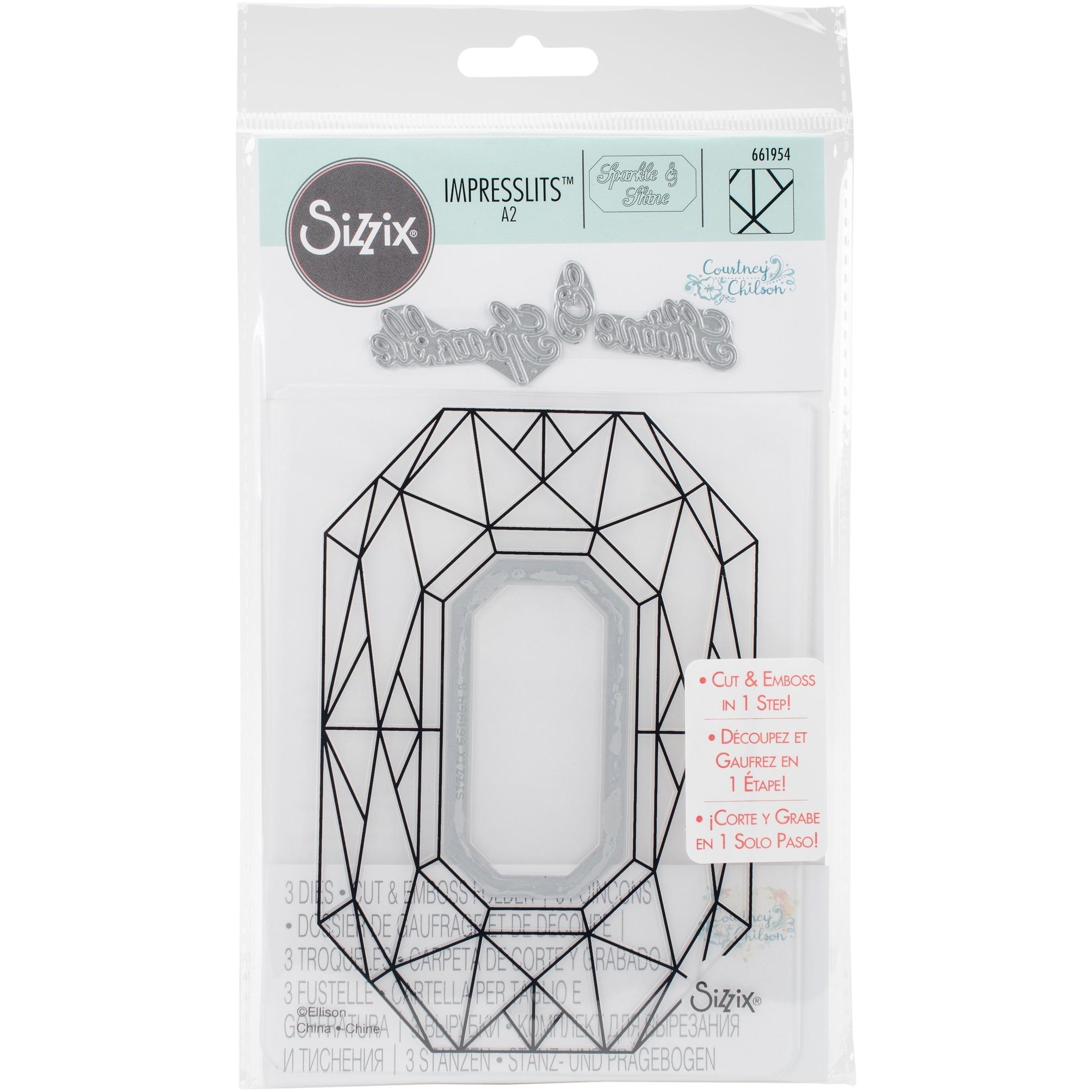 Sizzix 661954 Diamond Geometrics Impresslits Embossing Folder