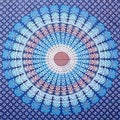 Handmade Sanganer Mandala Peacock 100% Cotton Tapestry Tablecloth Bedspread in Red Blue & Green colors in Twin & Full sizes - Thumbnail 5