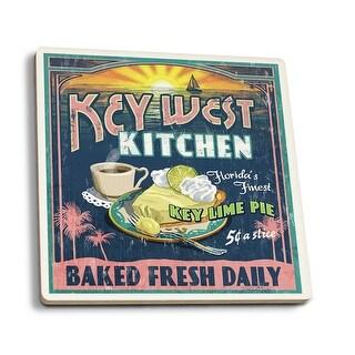 Key West FL Key Lime Pie Vintage Sign - LP Artwork (Set of 4 Ceramic Coasters)