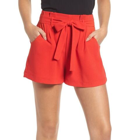 Leith Women's Shorts Red Size Small S Paper-Bag High Waisted Solid Belted