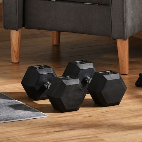 Soozier 90lbs Rubber Dumbbells Weight Set 45lbs/Single Dumbbell Hand Weight Barbell for Body Fitness Training for Home Office