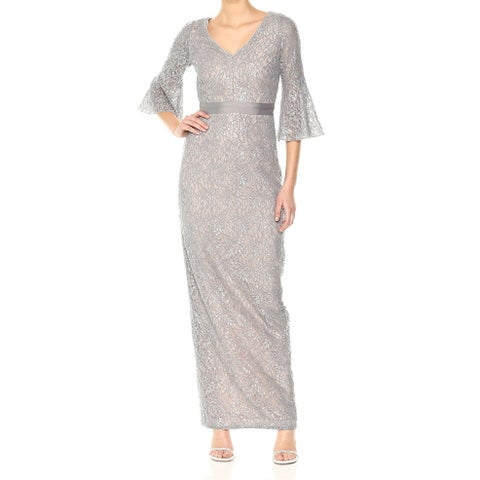 Calvin Klein Silver Womens Size 6 Sequined Lace Bell Sleeve Gown