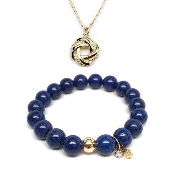 "Blue Jade 7"" Bracelet & Love Knot Gold Charm Necklace Set"
