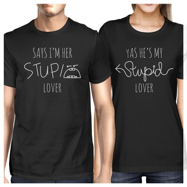 1a700e9f17f Shop Stupid Lover Black Matching Couple T-Shirts Short Sleeve Cotton Tee -  Free Shipping On Orders Over  45 - Overstock - 23001258