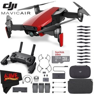DJIMavic Air Fly More Combo (Flame Red) + MicroFiber Cloth + SanDisk Ultra 32GB Class 10 microSDHC Card Bundle