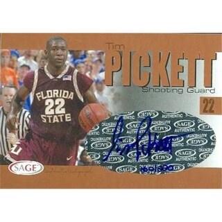 Tim Pickett Autographed Basketball Card Florida State 2004 Sage