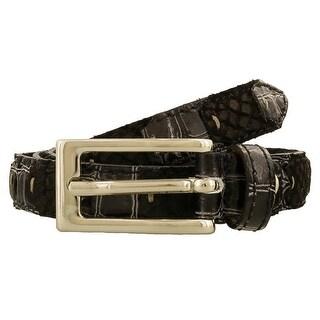 Renato Balestra LUCA NERO Black Leather Mens Belt-37.5in - 37.5