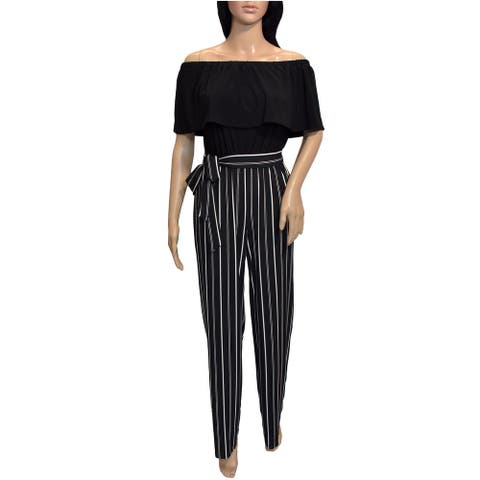 Bebe Womens Black White Striped Off Shoulder Jupmsuit