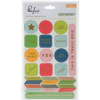 """Life Noted Chipboard Stickers 4""""X6""""-W/Gold Accents"""