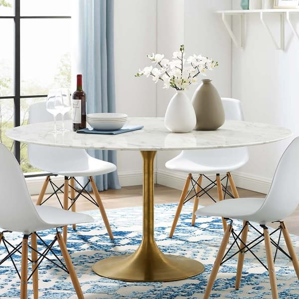Lippa 60 Inch Round Artificial Marble Dining Table With Goldtone Base Overstock 25442986