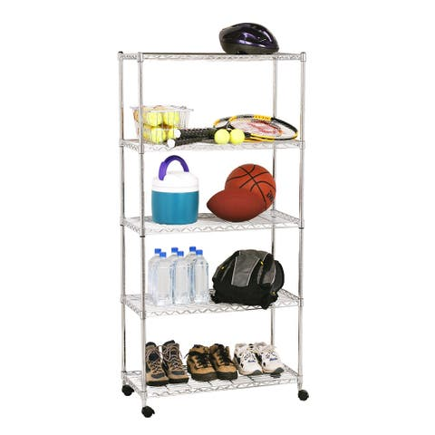 """Seville Classics 5-Tier Steel Wire Shelving with Wheels, 30"""" W x 14"""" D x 60"""" H"""
