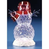"10"" LED Icy Snowman Christmas Table Top Figurine - CLEAR"