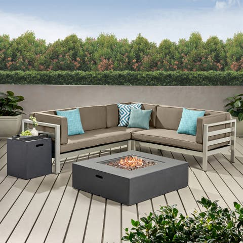 Bel Aire Outdoor Modern 5 Seater V-Shaped Sectional Sofa Set with Fire Pit and Tank Holder by Christopher Knight Home