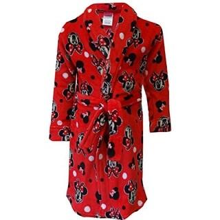 Disney Girls Minnie Mouse Fleece Short Robe - XS
