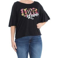 JESSICA SIMPSON Womens Black Flutter Sleeve Love Short Sleeve Scoop Neck Top  Size: L