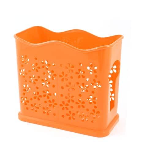 Unique Bargains Household Orange 2 Compartments Floral Shape Perforated Chopsticks Holder Cage