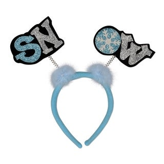 Pack of 12 Glittered Noel Boppers Snap-on Christmas and Winter Headbands One Size Fits Most