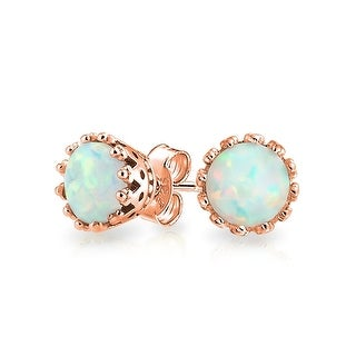 Bling Jewelry Oval Crown Simulated Opal Stud earrings Rose Gold Plated 6mm - Pink