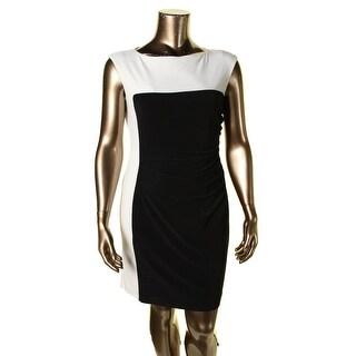 Lauren Ralph Lauren Womens Petites Wear to Work Dress Colorblock Sleeveless - 10P