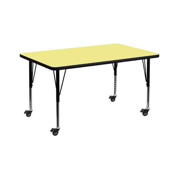 """Offex 36""""W x 72""""L Mobile Rectangular Activity Table with Yellow Thermal Fused Laminate Top and Height Adjustable Pre-School Leg"""