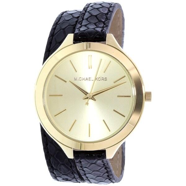 fa75be67f53 Shop Michael Kors Women's Runway Black Leather Quartz Fashion Watch ...