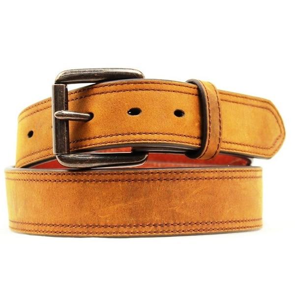 Ariat Western Belt Mens Distressed Double Stitch Logo Brown