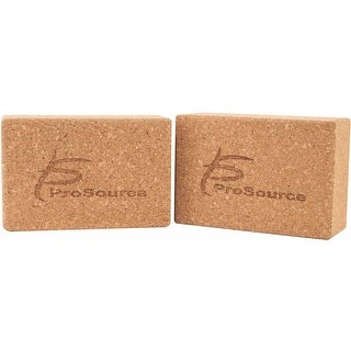 ProSource Set of 2 Natural Cork Yoga Blocks from Recyclable Eco Friendly Material and 3x6x9