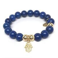 Julieta Jewelry Protection Hand Charm Blue Jade Bracelet