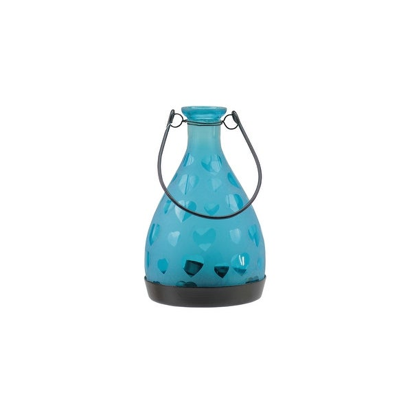 """6.25"""" Frosted Blue Hearts Glass Bottle Tea Light Candle Lantern Decoration"""
