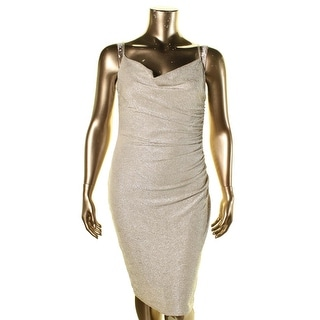 Laundry by Shelli Segal Womens Metallic Ruched Cocktail Dress
