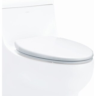 Eago R-358SEAT Elongated Closed-Front Toilet Seat with Soft Close Hinges - White