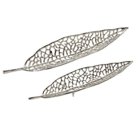 Silver Metal Glam Tray (Set of 2)