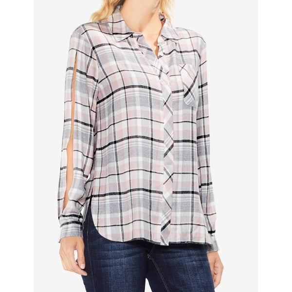 108742de Shop Vince Camuto Womens Medium Plaid Button Down Shirt - Free ...