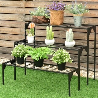 Costway 3 Tier Shelf Flower Plant Display Stand Rack Large Modern Black Metal Heavy Duty